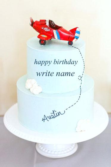 Write Name On Airplane Blue Cake Add Text On Happy Birthday Cake